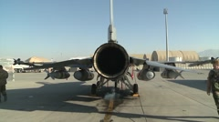 F-16 Fighting Falcon preparing for a mission, Bagram Air Field, Afghanistan Stock Footage