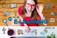 E-Learning concept with young woman with red glasses Stock Illustration
