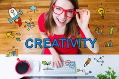 Creativity concept with young woman with red glasses - stock illustration