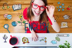 English concept with young woman - stock illustration