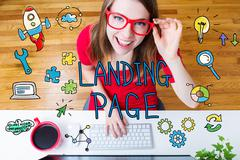 Landing Page concept with young woman - stock illustration