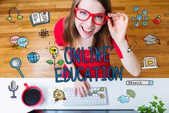 Online Education concept with young woman - stock illustration
