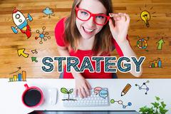 Strategy concept with young woman with red glasses Stock Illustration
