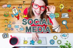 Social Media concept with young woman Stock Illustration