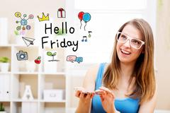 Hello Friday concept with young woman Stock Illustration