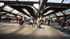 People at the main train station of Zurich city. Stock Footage