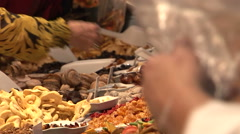 Dried fruits market healthy superfoods display Stock Footage