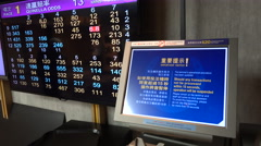 Ticket vending computer and live score and results at horse races in Hong Kong Stock Footage