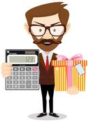 Accountant with gift and a calculator Stock Illustration