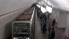 Train arrives and departs from Moscow metro station Kurskaya (ring). 16-02-2016 Stock Footage
