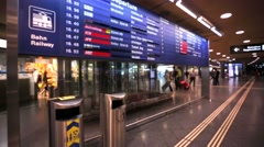 Slow motion. International Airport Departures Board at Zurich airport. Stock Footage