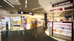 View of duty free store at Zurich Airport. Stock Footage
