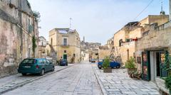 Stock Photo of street view with cars of Sassi di Matera