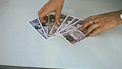 Austria 1960s: hand taking austrian currency banknotes Stock Footage