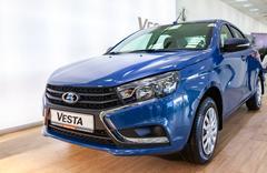 New Russian Car Lada Vesta. Lada is a Russian automobile manufacturer Stock Photos