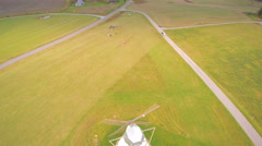 The old traditional windmill in the field Stock Footage