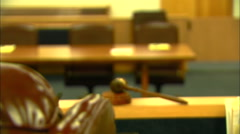 Close-up of Judge's Seat in Florida Courtroom Zooms at Door, HD Video Stock Footage