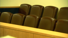 Jury Box in Florida Courtroom Zoom In HD Video - stock footage