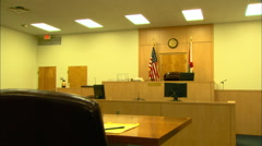 Courtroom in Florida, Dolly Track Shot from Counsel Table HD Video Stock Footage