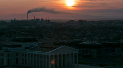 Elevated view with sunrise over the city center with State Opera and Ballet Stock Footage