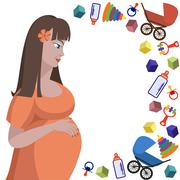 Profile of pregnant woman and toys Stock Illustration