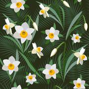 Seamless background from bunch of blossoming narcissus flowers Stock Illustration
