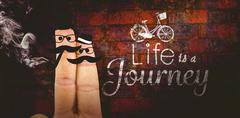 Composite image of two fingers with mustache - stock illustration