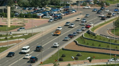 Car drives on street Traffic over the wide boulevards of Astana in Kazakhstan Stock Footage