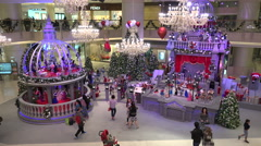 Christmas display in a luxurious shopping mall, holiday season in Hong Kong Stock Footage