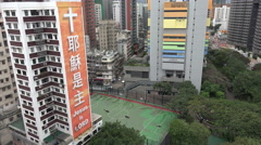 China religion, banner advocating Christianity in Hong Kong Stock Footage