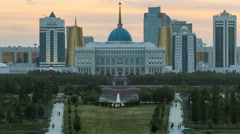 Panorama of the Astana city day to night timelapse and the president's residence Stock Footage