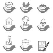 Vector insurance icons set Stock Illustration