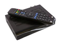 Remote and Receiver for Satellite TV on white top view Stock Photos