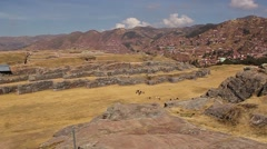 Panoramic footage of the ancient citadel Sacsahuayman Stock Footage
