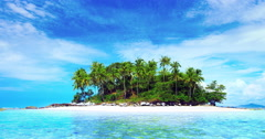 Beautiful small island. Coconut palm trees on sandy beach at sunny summer day 4K Arkistovideo
