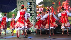 Young girls dance russian folk dance. Stock Footage