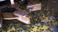 Closeup view of water mill. Stock Footage