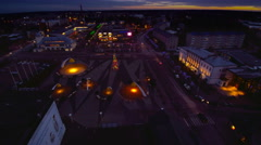 The aerial cityscape of Rakvere at night Stock Footage