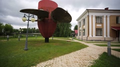 View of old turbine near museum of Uglich Hydroelectric Station. Stock Footage