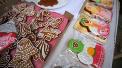 Homemade gingerbread cookies on a market sale. Uglich, Russia. Stock Footage