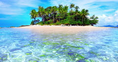 Exotic tropical island with palm trees and white sand beach on clear water sea Arkistovideo