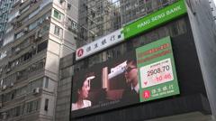 Electronic advertising board Hang Seng Bank Hong Kong, stock exchange info Stock Footage