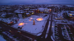 The aerial view of the city of Rakvere Stock Footage