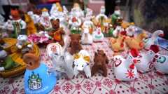 Traditional Kargopol clay toys (Russian North) - stock footage