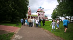 Tourists visit Church of Tsarevich Dmitry on the Blood inside Uglich kremlin. Stock Footage