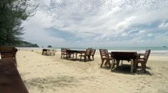 Tropical beach in Thailand, cafe tables on the beach Stock Footage