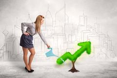 Business woman watering green plant arrow - stock photo