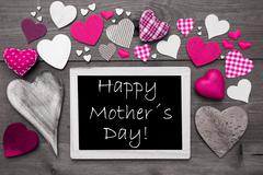 Black And White Chalkbord, Pink Hearts, Happy Mothers Day - stock photo