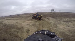 ATV Ride through the steppe, sand and terrain Stock Footage