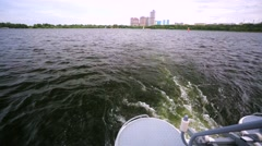 Boat ride along Stroginskaya floodplain, Moscow, Russia. Stock Footage